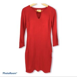 🆕 Calvin Klein Red Sweater Dress Keyhole Chest